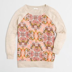 J.Crew Woven Floral Panel Sweater